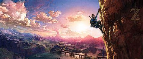 Zelda Breath Of The Wild Wallpapers Uhd Ultrawide Botw Link Climbing By Alan2008 On Deviantart