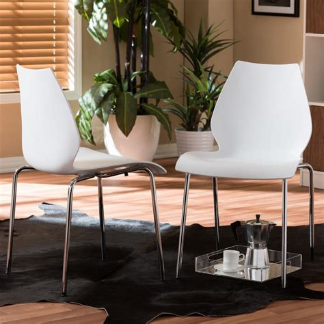 baxton studio overlea white plastic dining chairs set of