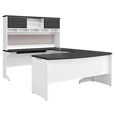 Ameriwood Computer Desk White by Pursuit L Shaped Desk With Hutch Bundle White Gray