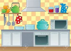 The Kitchen clipart cartoon - Pencil and in color the ...