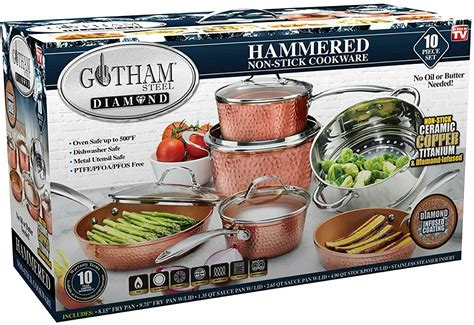 gotham steel hammered steel  pc cookware set