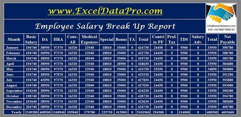 salary breakup report excel template exceldatapro