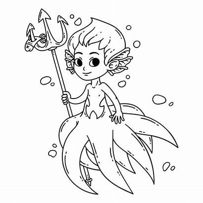 Mermaid Coloring Male Vector Merman Illustration Children