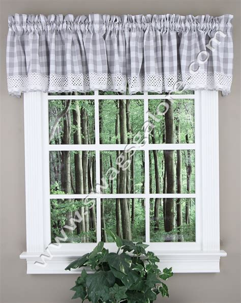 buffalo check valances grey kitchen valances