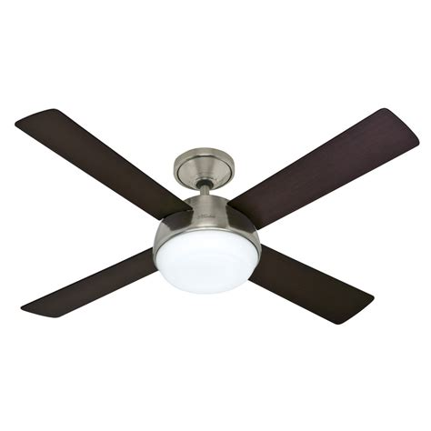 lowes ceiling fans with lights and remote shop hunter arvada led 52 in brushed nickel downrod mount