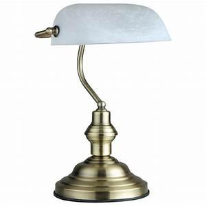 Led 6 watt table lamp bankers lamp antique old brass desk for Gazzetta 5 light table lamp
