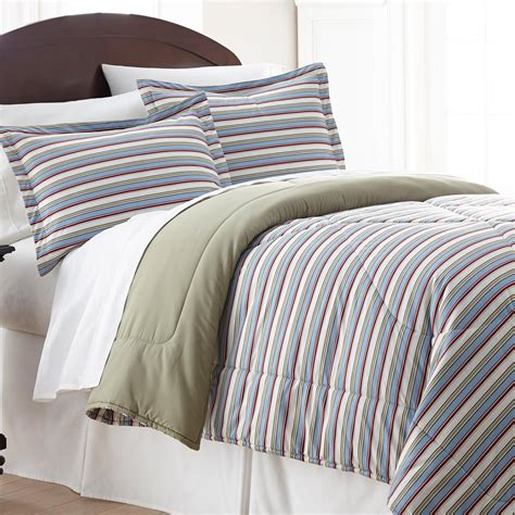 micro flannel awning stripe full queen 4 piece comforter