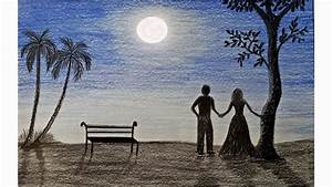 How To Draw Moonlight Night Scene Step By Step  Very Easy