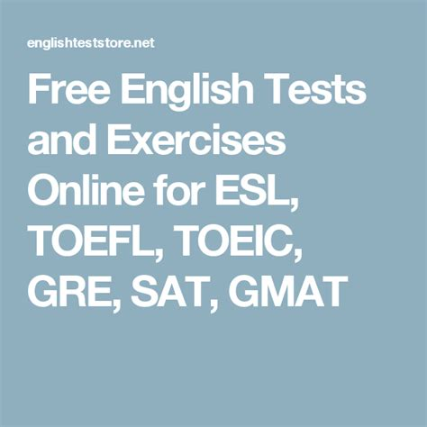 english tests  exercises   esl toefl