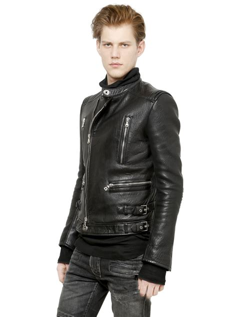 padded leather motorcycle jacket balmain padded nappa leather biker jacket in black for men
