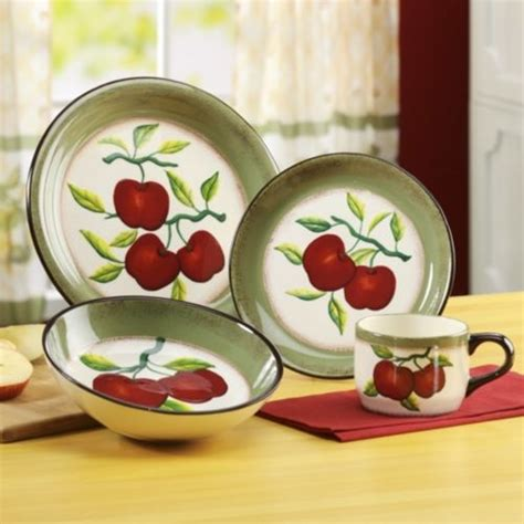 16 piece apple on branch dinnerware from through the
