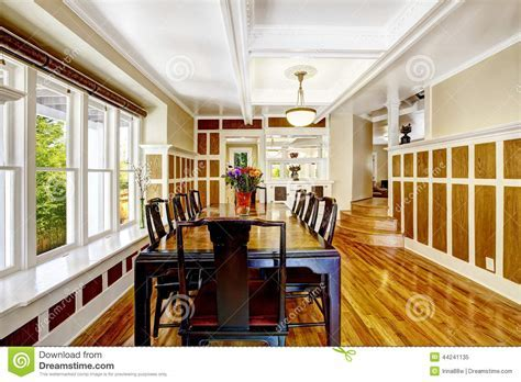 Empressive Dining Room Interior. Luxury House With Wood