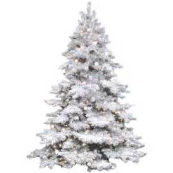 vickerman flocked alaskan 7 5 white artificial christmas tree with 800 clear lights with stand