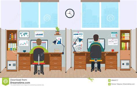 poste de travail bureau poste de travail intérieur de bureau avec des employés