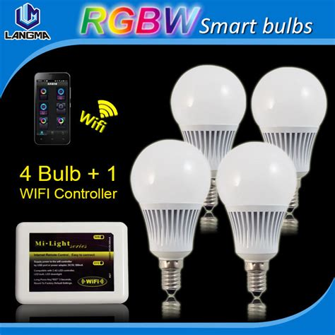 4pcs bulbs wifi mi light e14 5w rgbw led bulb wireless