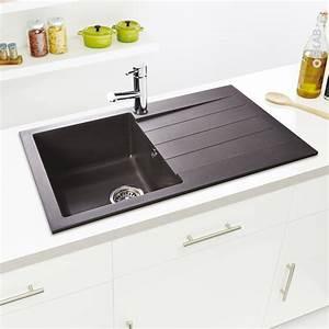 Evier Cuisine Granit : evier de cuisine helio granit noir 1 bac gouttoir ~ Premium-room.com Idées de Décoration