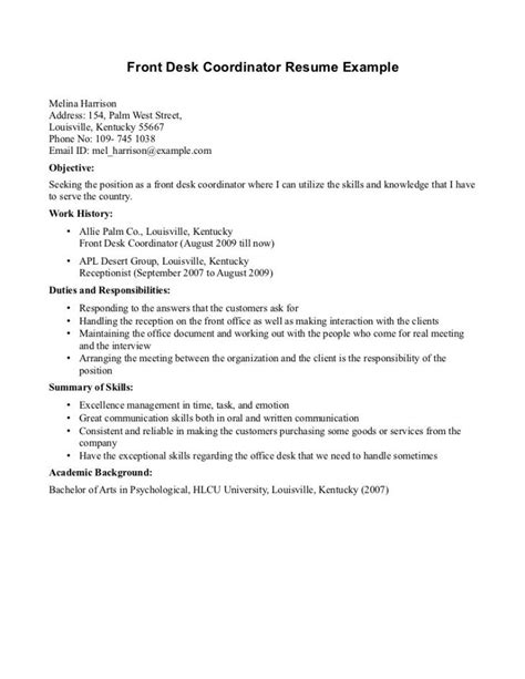 Front Desk Resume Exles by Doc 500708 Dental Receptionist Resume Sles Bizdoska