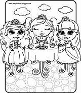 Tea Party Coloring Pages Boston Princess sketch template
