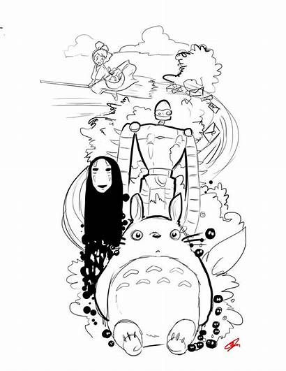Spirited Away Face Coloring Pages Bunnies Dust