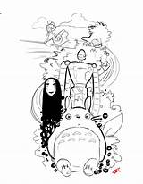 Spirited Away Face Coloring Pages Bunnies Sketch Dust Tortoro Robot Tattoos Animated Film Template Baby Rabbit sketch template