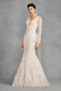 2018 new style white by vera wang bell sleeve lace wedding With vera wang wedding dresses with sleeves