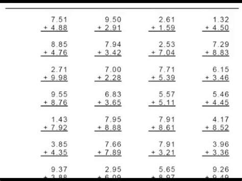 2 digits addition with decimal grade 4 decimal addition 1 or 2 digit numbers worksheets