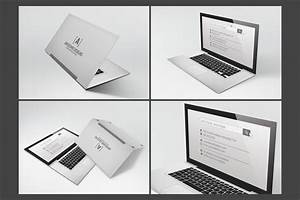 Laptop folded business card template business card for Folding business cards template