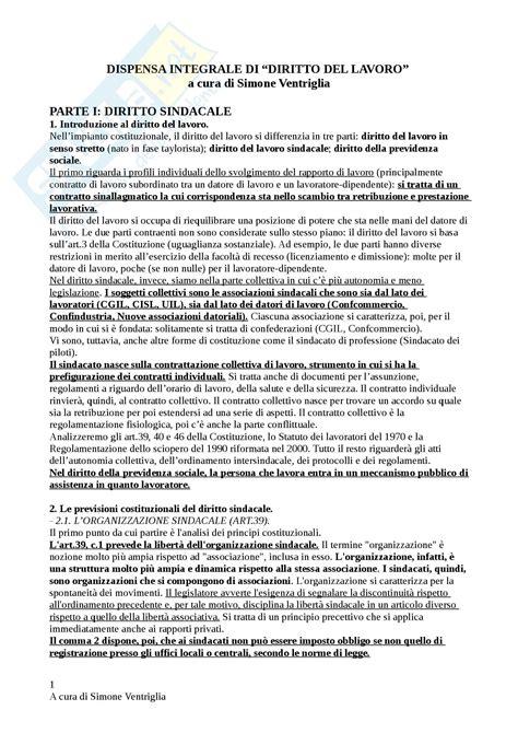 Dispensa Diritto Lavoro by Diritto Lavoro Nozione Diritto Sindacale