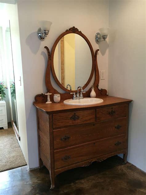 Oak Vanity by Tiger Oak Dresser Turned Vanity Master Bathroom