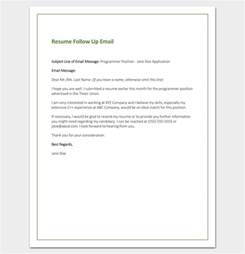 Follow Up Email After Sending Your Resume by Follow Up Letter Template 10 Formats Sles Exles