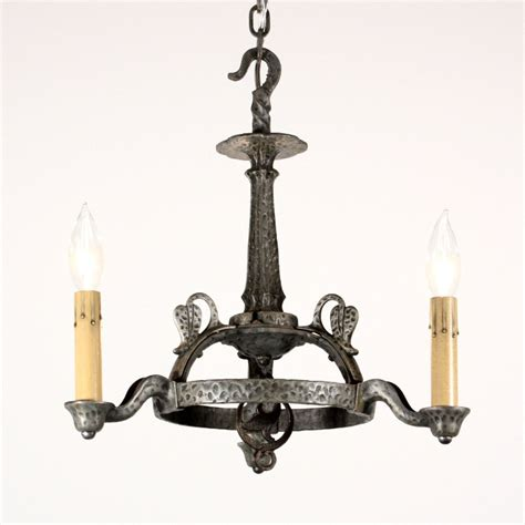 amazing antique tudor three light chandelier cast iron