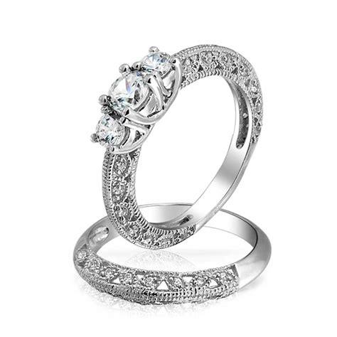 Vintage 3 Stone Round Cz Wedding Anniversary Ring Set 925