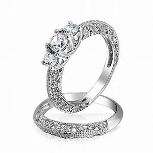 vintage 3 stone round cz wedding anniversary ring set 925 With wedding bands for 3 stone rings