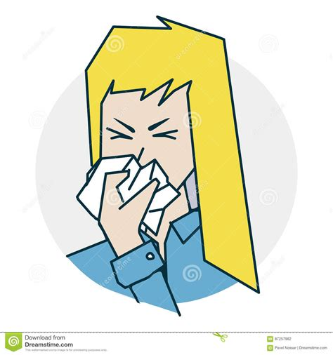 The Girl Has A Runny Nose Vector Illustration