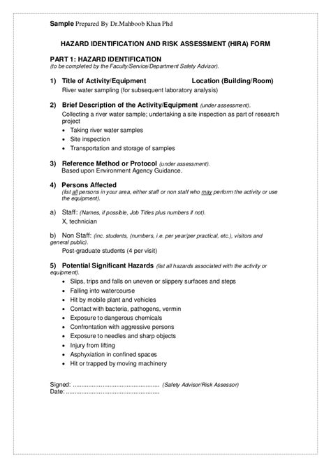 Hazard identification and risk assessment (hira) form revised