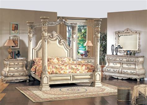 Bedroom Set With Marble Top by White Poster Canopy Bed W Leather Marble Tops 4