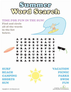 summer word search worksheet education