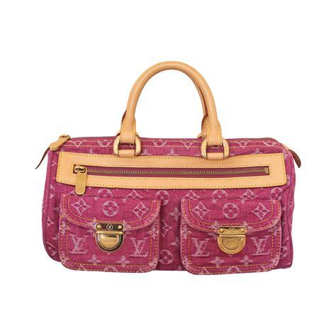 louis vuitton pink denim speedy handbag  stdibs