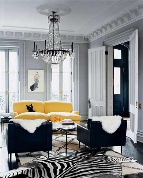yellow black white living room interior design decor