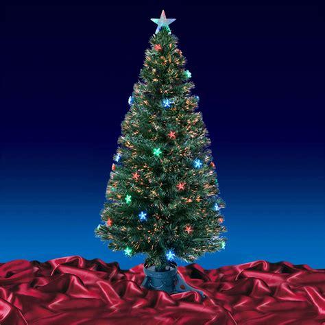 green fibre optic artificial christmas tree multi led