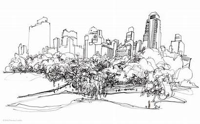 Park Central Skyline Nyc Drawings Pen Ink