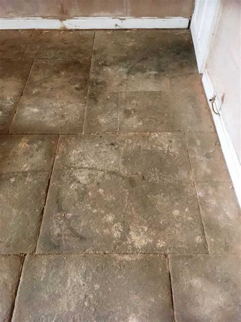 flagstone tiled flooring resurfaced  great harwood