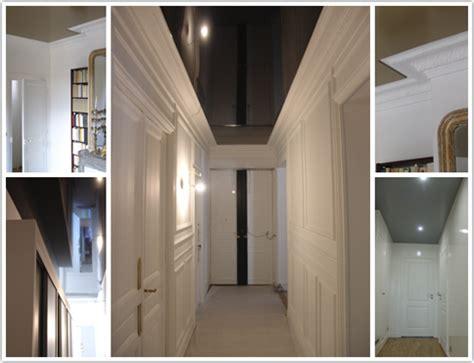 plafond tendu noir brillant harmonie de plafonds pour appartement hausmanien