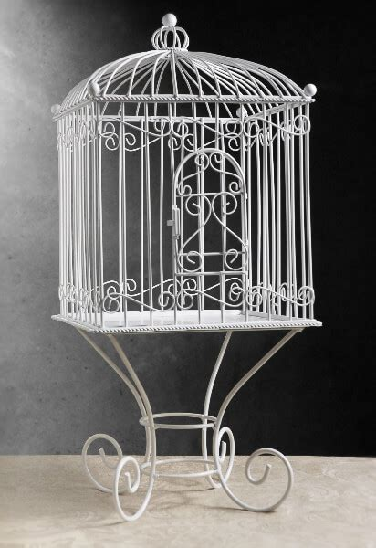 white metal vintage birdcage removable stand