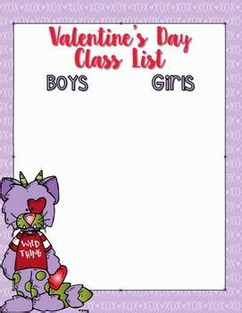 valentines day class list template editable bw