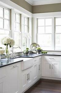 white farmhouse sink with white custom cabinets and black With kitchen colors with white cabinets with personalized baseball wall art