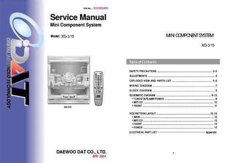 Daewoo Xg-315 Mini Component Hifi Service Manual Service
