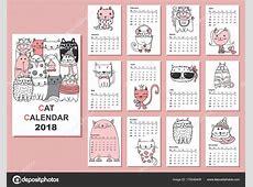 Calendário 2018 Gatos Bonitos Para Cada Mês Vector Isolado
