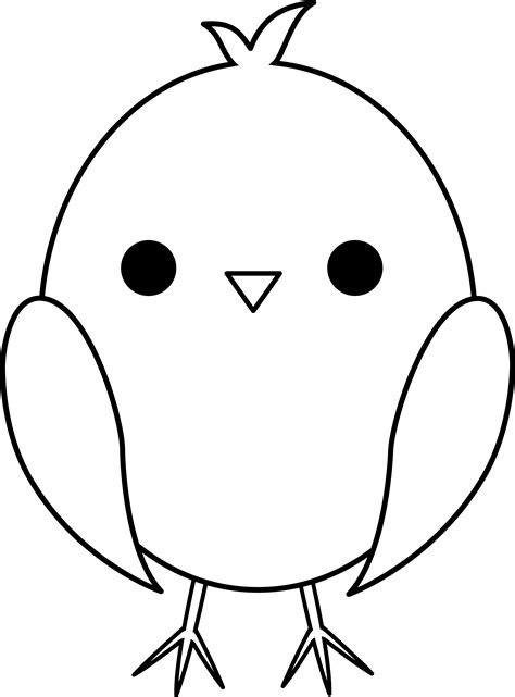 Cute Baby Chick Line Art - Free Clip Art