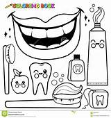 Coloring Hygiene Dental Pages Toothbrush Vector Mouth Tooth Cartoon Drawing Toothpaste Outline Floss Teeth Personal Objects Illustration Wash Sheets Bitten sketch template